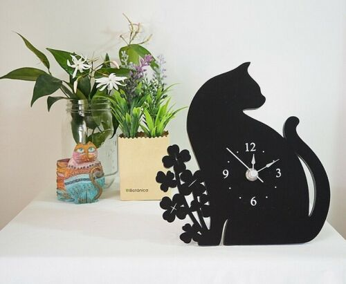 Cat clock large self-stand or wall