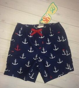 e72100405a57b Image is loading NWT-Hatley-Boys-Nautical-Anchor-Navy-Swim-Trunks-