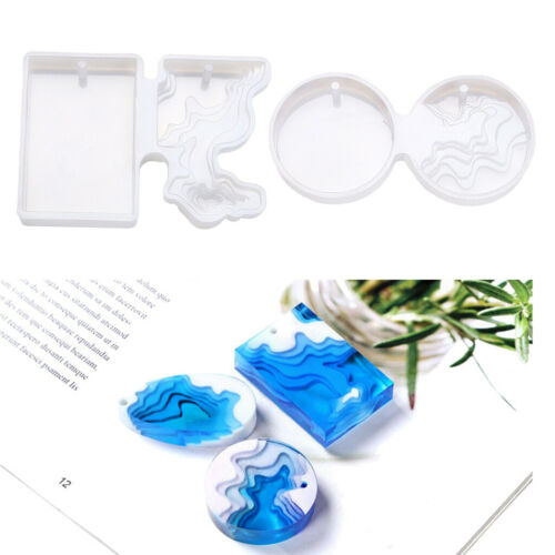 2x Clear Silicone Mold Resin Mould DIY Pendant Jewelry Making Dried Flower Craft