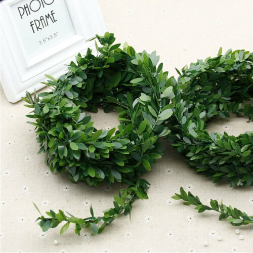 KQ 7.5M Garland Green Leaf Wire Vine Rattan Artificial Flower for DIY Wreath Co