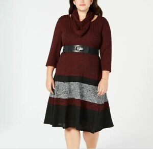 Details about NEW Robbie Bee Women\'s Plus Size Belted Colorblocked Sweater  Dress Sz 2X