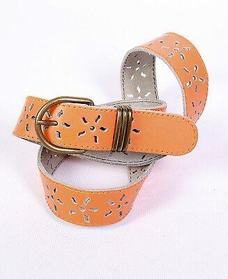 Qualificato G427 Cintura Da Donna Arancione In Pelle 75 - 80 Cm In Vita Cintura Motivo Traforato Vintage-
