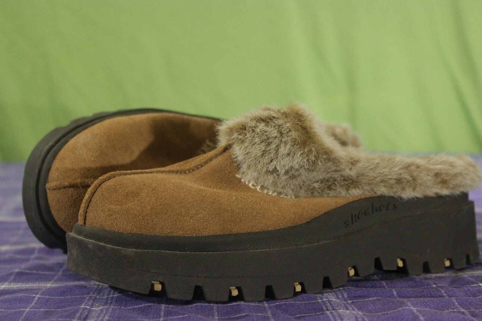 Fuzzy Slip Platform On Shoes Slippers Shindigs Sz 6.5 Platform Slip Skechers Fortress Brown 85b1ff