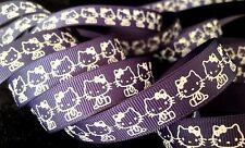 5/8 inch HELLO KITTY kitten cat white print on dark blue grosgrain RIBBON Sanrio