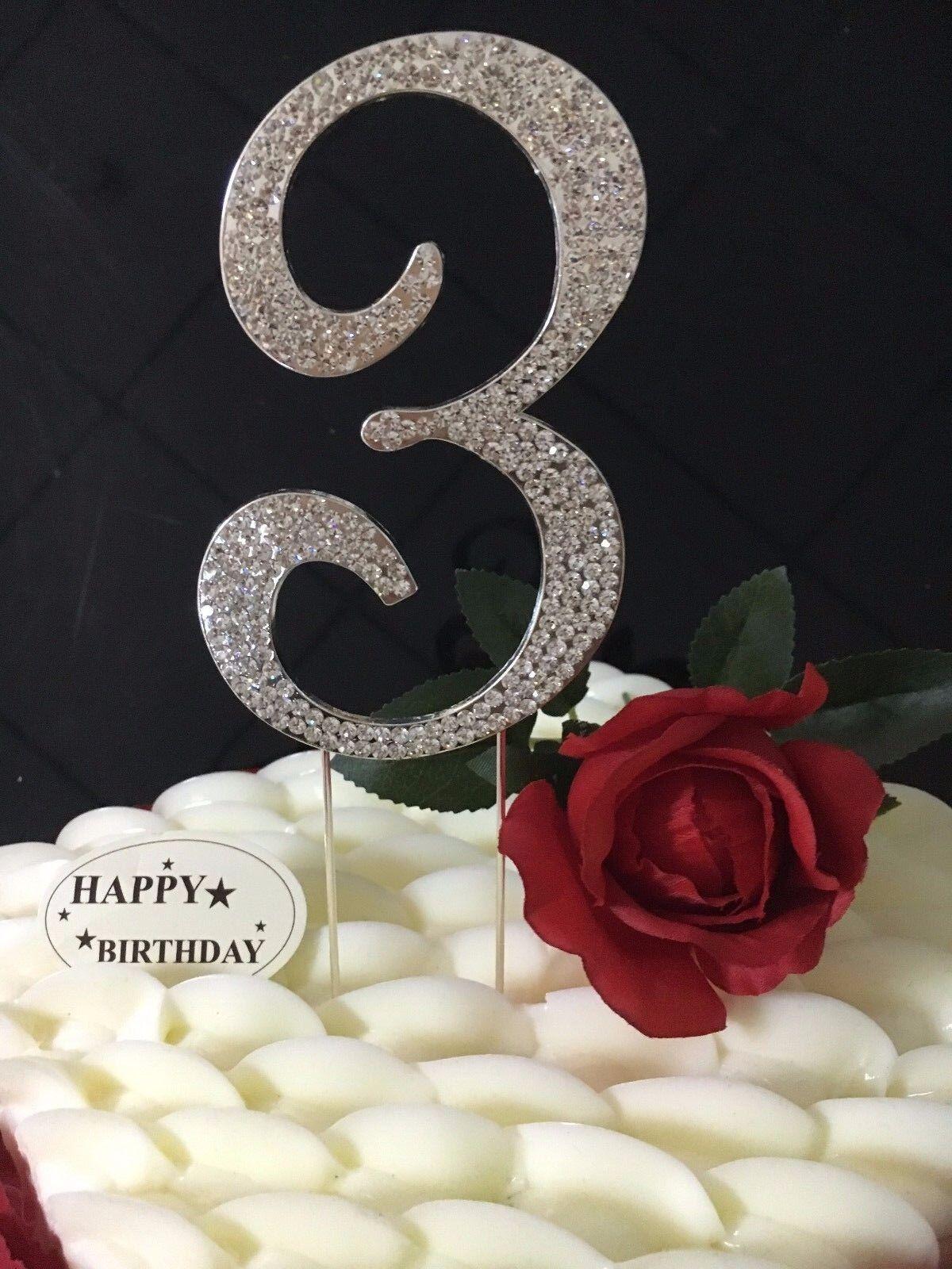 Diamante Diamond Rhinestone Gem Silver Cake Pick Topper For Party