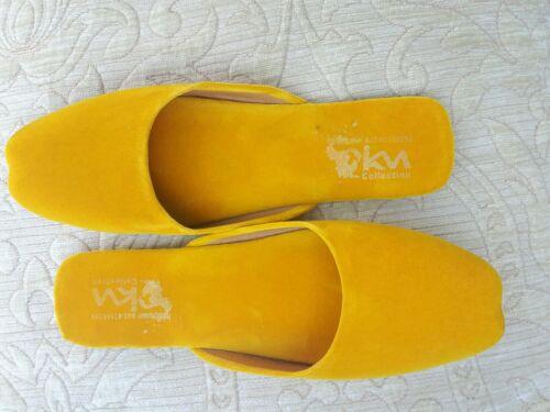 Yellow Ladies Indian Size Velvet Less Slipper Back Wedding 3 CCvUr