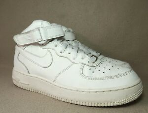 Details about NIKE AIR FORCE 1 '82 MID Junior White Hi top Leather Trainers UK 5 EU 38