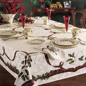 "Lenox HOLIDAY NOUVEAU Holiday 60"" x 84"" Oblong Tablecloth ..."