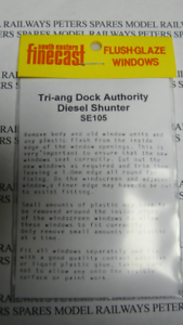 FlushGlaze Windows SE-105 Triang Dock Authority Diesel Shunter OO Gauge