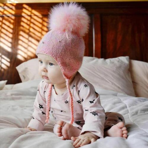 Bébé Garçon Filles Cheveux Boule Ecouteurs Chapeau Enfants Crochet Hiver Chaud