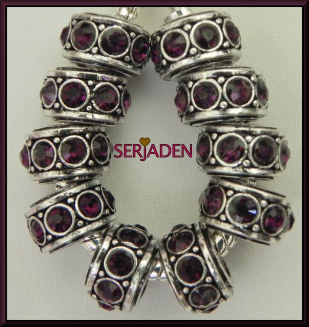 10 Antique Silver Purple Stone Spacers Fits European Style Jewelry 7x11x5mm R064