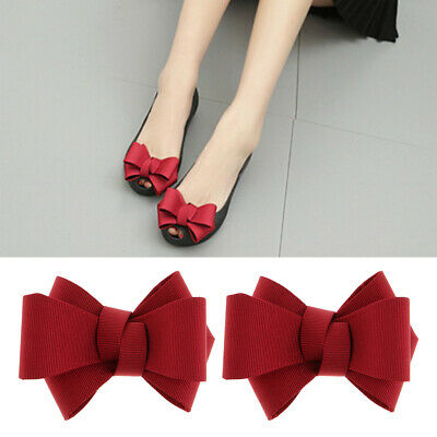 Red 2PCS Simple Plain Ribbon Bow Butterfly High Heel Shoe Clip Charms