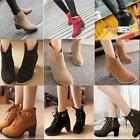 New Women Lace Up Ankle Buckle Boots Platform Chunky Low Mid Heel Martin Shoes