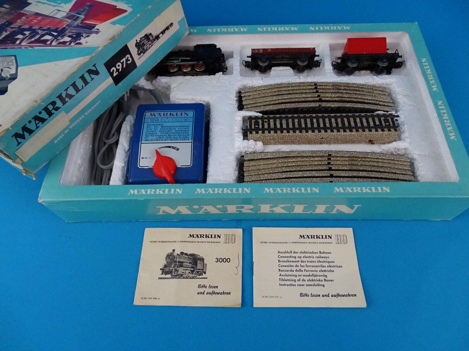 Marklin 2973 Starter Set Steamer + 2 Freight Cars 60-ies