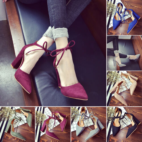 Block Kitten High Heels Women Suede Point toes Shoes Fashion Pumps Pointed Shoes
