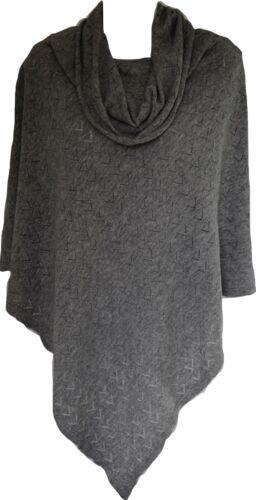 Poncho Wool Cashmere Winter Women Warm Wrap Cape Cowl Neck Grey PC1904 80cm