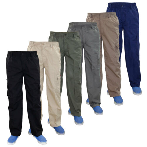 Mens Combat Cargo Work Trousers Elasticated 7 Pockets Loose Fit Pants Bottoms