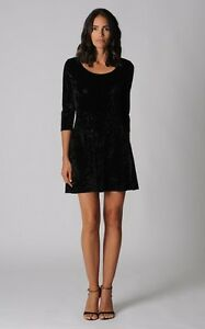 Sportsgirl-Ladies-Velvet-Look-3-4-Sleeve-Dress-sizes-6-8-10-Colour-Black