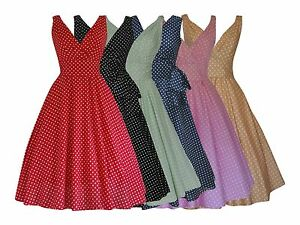 WOMENS-40-039-s-50-039-s-RETRO-VINTAGE-FLARED-ROCKABILLY-TEA-DRESS-POLKA-DOTS-NEW-8-22