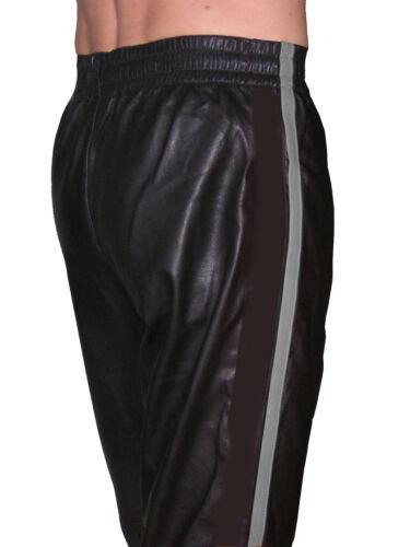 Sporthose schwarz grau Hose Leder Jogginghose neu casual sport leather pants