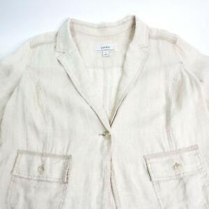 Caslon-Womens-Size-L-Natural-100-Linen-One-Button-Shirt-Jacket-Pockets-Casual