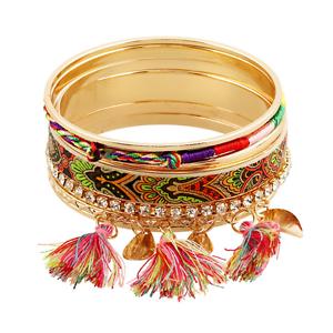 7Pcs//Set Bohème Femme Fashion Coloré À Gland Pandent Bangle Bracelet Bracelet