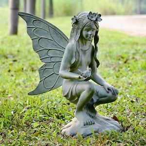 Ordinaire Image Is Loading EXQUISITE FAIRY GARDEN STATUE With Bird Verdi Fairies