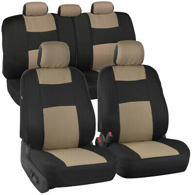 Astounding Car Seat Covers Set Split Bench Polyester W Headrest Covers Sedan Truck Beige Ebay Machost Co Dining Chair Design Ideas Machostcouk