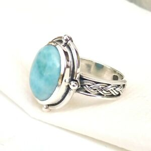 Natural-Larimar-Ring-925-Sterling-Silver-Larimar-Gemstone-Handmade-Rings-S138