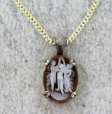 Vintage Antique  Carved  Shell Cameo in Sterling Silver with Chain
