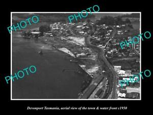 OLD-LARGE-HISTORIC-PHOTO-OF-DEVONPORT-TASMANIA-AERIAL-VIEW-OF-TOWN-c1950