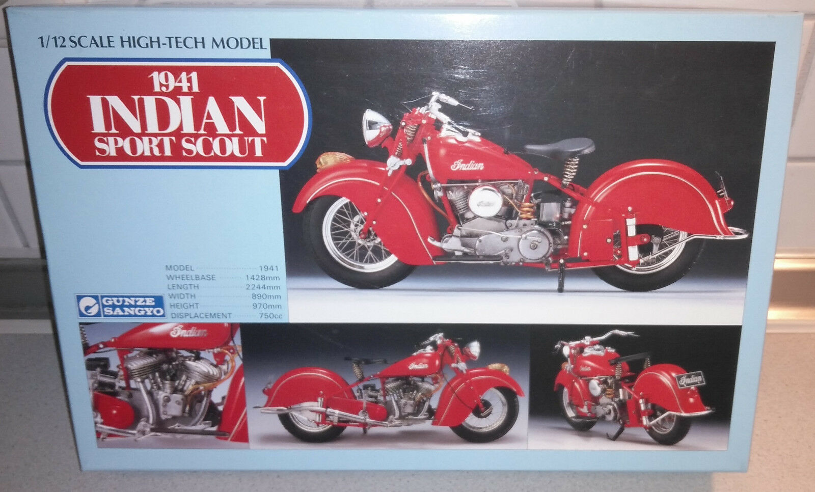 INDIAN SPORT SCOUT 1941 GUNZE SANGYO 1 12 1941 - hoch-Tech Modelllbausatz, RAR