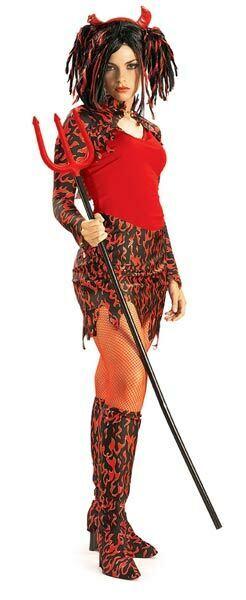 Rubies Adult Teens She Devil Girl Flame Halloween Fancy Dress Costume - Size S