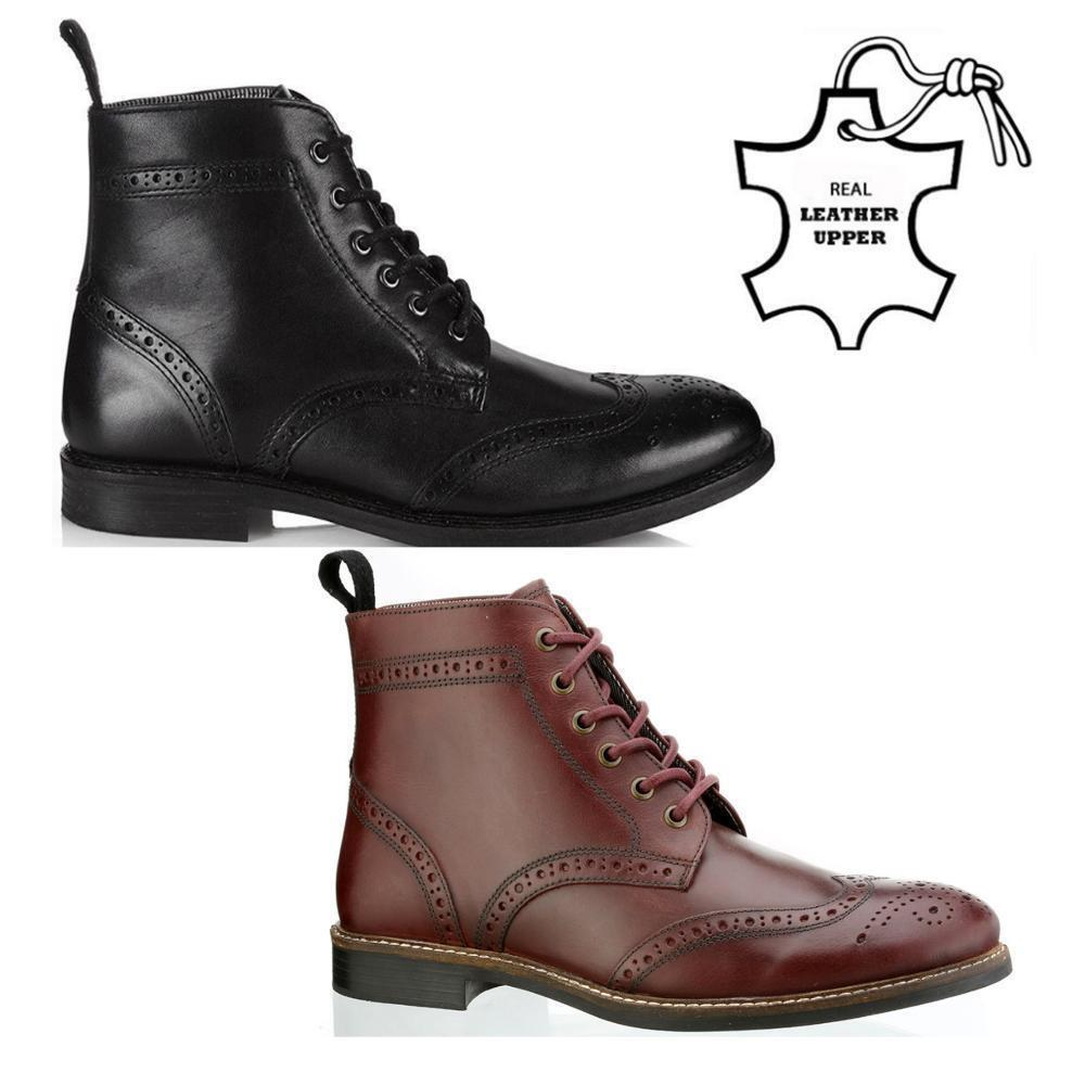 NEW MENS BOYS LEATHER LACE UP BROGUE CASUAL SMART ANKLE BOOTS SHOES SIZE