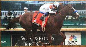 9516dd39a96 Image is loading JUSTIFY-MIKE-SMITH-SIGNED-PRINT-PHOTO-HORSE-RACING-