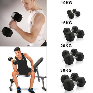 Details about 10kg-30KG Rubber Encased Dumbbell Hex Weights Gym  Fitness/Workout/Weight Lifting