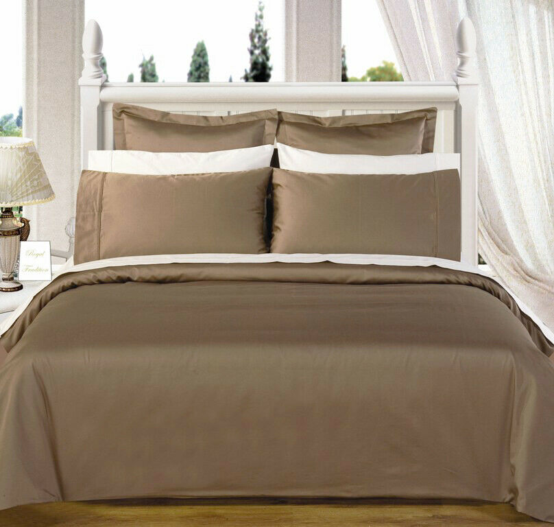 Reversible Duvet Set All Size 1000 TC 100% Cotton White & Taupe Solid