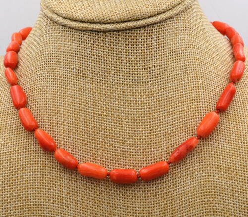 "8x12mm orange corail cylindrique Gemstone Collier 18 /""AAA"