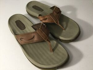 SPERRY-Top-Sider-Brown-Leather-Flip-Flop-Sandals-Size-13-Excellent-Condition
