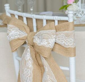 Hessian-Burlap-Chair-Sash-with-Lace-Stitched-Edge-Pew-Bows-Shabby-Chic-Wedding