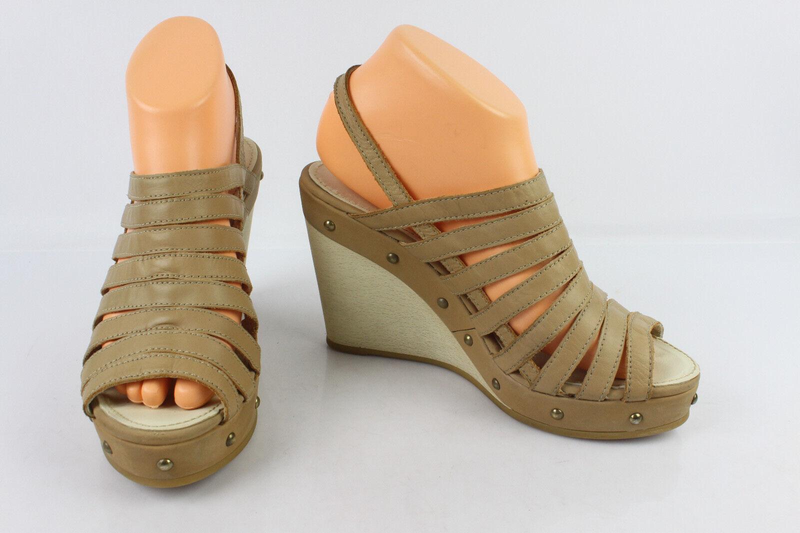 Sandalen T mit absatz Plattform GEOX Beige Leder T Sandalen 39 SEHT GUTER ZUSTAND 795e3e