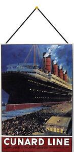 Cunard-Line-Liverpool-Ny-Boston-Bouclier-avec-Cordon-Etain-Signer-20-X-30-CM