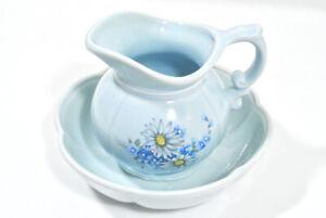 Vintage McCoy Pottery Light Blue Pitcher & Scalloped Bowl Flower Planter 7528