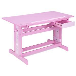 Details About Kids Room Adjustable Wooden Art Drafting Table With Drawer Pink Desk Desktop Us