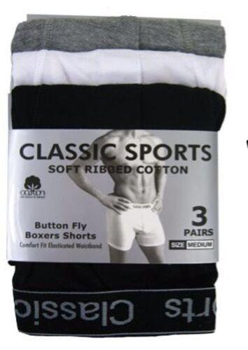 6 Pairs Men Plain Boxer Underwear Classic Cotton Blend Boxers Shorts S XL