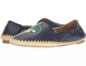 42d4ee20168 NEW Tory Burch Darien Loafer Leather Navy Sea Green Espadrilles ...