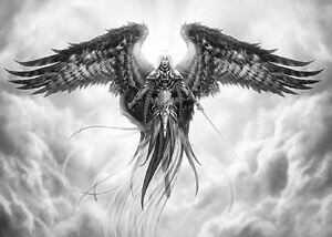 framed print gothic grey warrior angel floating in the sky