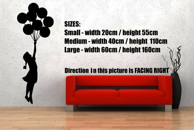 Banksy Style Ballon Fille 2   cm wall Stickers Haute Qualité 60 cm x 160 cm  NEUF bb7356