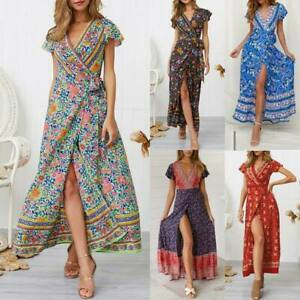 Women-039-s-floral-cocktail-maxi-summer-sundress-party-beach-evening-boho-long-dress