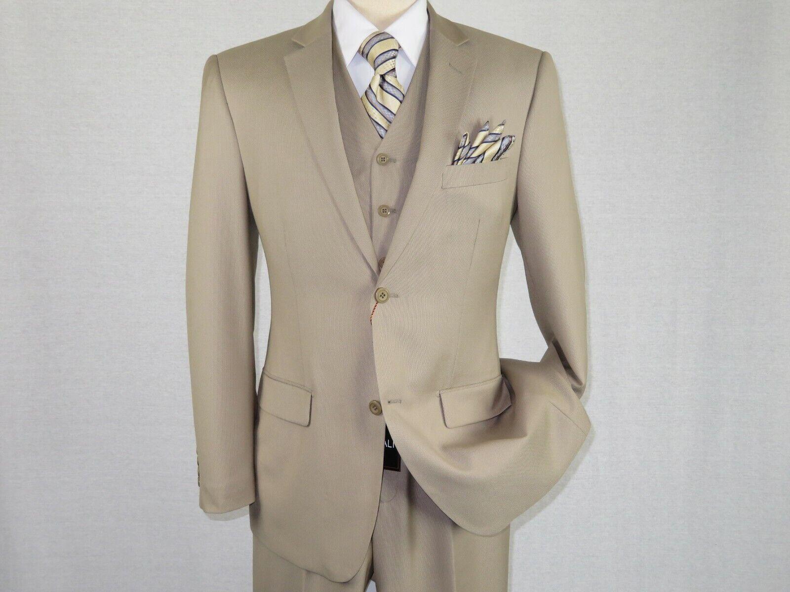 Men Suit Vitali Three Piece Vested English Nailhead pin dot M1481 Beige Ecru new